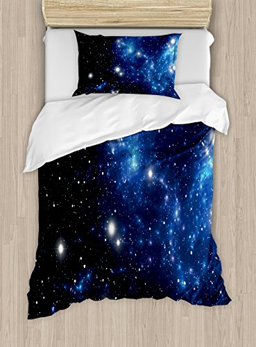 Ambesonne Constellation Duvet Cover Set Twin Size, Outer Space Star Nebula Astral Cluster Astronomy Theme Galaxy Mystery, Decorative 2 Piece Bedding Set with 1 Pillow Sham, Blue Black -