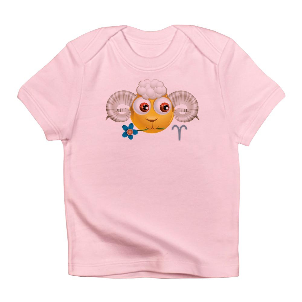 Petal Pink 0 To 3 Months Truly Teague Infant T-Shirt Smiley Face Zodiac Aries