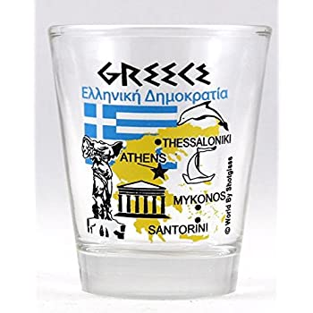 Mykonos Greece Neon Nautical Frosted Shot Glass