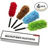 Microfiber Duster Extendable - 4 Set - Non-Scratchy & Anti-Static - Fran's Essentials Retractable Long-Reach Washable Dusting Brush Kit with Telescoping Pole - Use for Cars, High Ceilings & More!