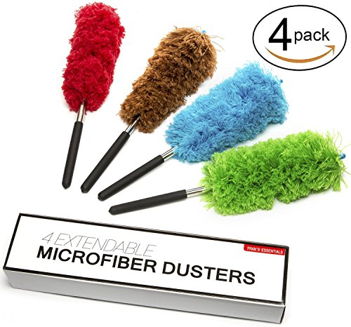 Microfiber Duster Extendable - 4 Set - Non-Scratchy & Anti-Static - Fran's
