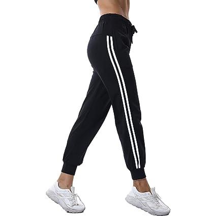 LQRR Nuevas Mujeres Negras Pantalones de Yoga a Rayas ...