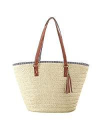 HOSPORT Women Straw Totes Beach Shoulder Handbag Woven Shoulder Bag Zipper Shop Handbags