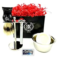 Shaving Set Vintage Style Safety Razor Straight Edge Razor Mens Shaving Kit with Razor Stand include Long Handle Razor Omega Shave Brush Soap Bowl and 10 Dorco Blades Stainless Steel Platinum