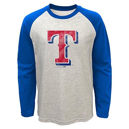 MLB Texas Rangers Youth Boys 820 Long Sleeve Raglan Tee, X-Large(18), Oatmeal (Texas Rangers Long Sleeve)