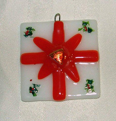 Christmas Present Handmade Fused Glass Christmas Ornament (Holiday Decor Wrap Holly)