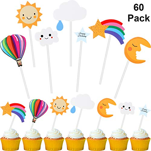 60 Pieces Cupcake Toppers Sun Moon Cloud Star Rainbow Cupcake Topper Hot Air Balloon Cupcake Picks Cake Decorations for Baby Shower Dessert Table Decorations Supplies]()