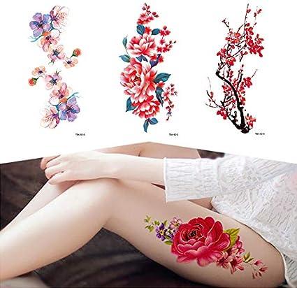 Etiqueta engomada del tatuaje temporal de la flor para las mujeres ...