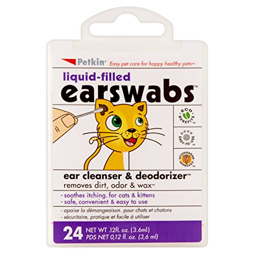 Petkin Liquid-Filled EarSwabs Ear Cleanser & Deodorizer for Cats, 0.12 fl oz, 24 count