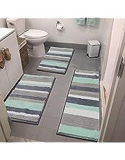 Vaukki 3 Pieces Striped Soft Bath Rugs Set Non Slip Shaggy Microfiber Bath Shower Mats Set Luxury Plush Absorbent Machine Washable Spa Rugs for Bathroom, Tub and Shower (18''x26''+20''x32''+18''x48'', Mint Green)