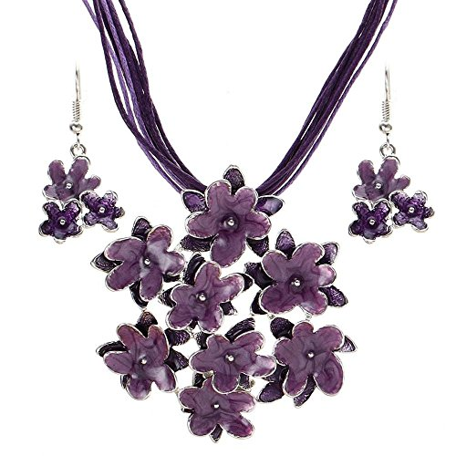 - Fashionable Newest Vintage Jewelry Sets | Multilayer Rope Flower Pendant, Necklace, Drop Earrings Sets