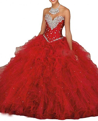 Red Beilite Women's Organza Quinceanera Dresses with Crystal Ball Gown