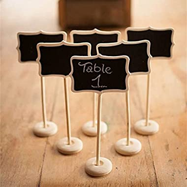 DITOP® Mini Retangle Chalkboard Blackboard with Stand Wedding Party Table Numbers Place Card Favor Tag Plant Marker For Wedding Decor(Set of 12)