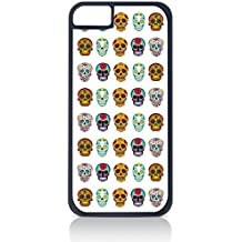 Sugar Skulls Pattern- Case for the Apple Iphone 4-4s Universal-Hard Black Plastic Outer Shell with Inner Soft Black Rubber Lining