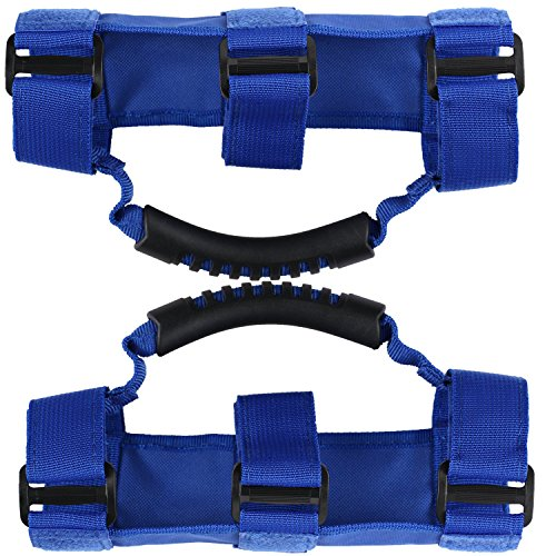 u-Box Blue Nylon Roll Bar Grab Handles for Jeep Wrangler CJ YJ TJ JK -Pack of 2