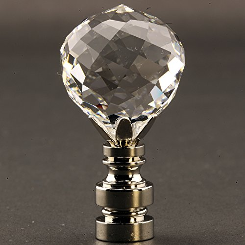 Swarovski Crystal Faceted Ball 30MM (1.18'') Lamp Finial with choice of base finishes - 2 inch high (Silver)