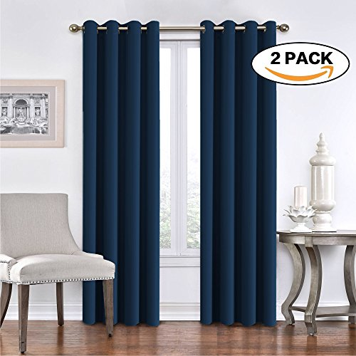 100% Blackout Extra Long Ultimate Performance Solid Pattern Curtains Drapes for Patio Glass Door Thermal Insulated Grommet Top Home Fashion Two Panels 108 inches -True Navy