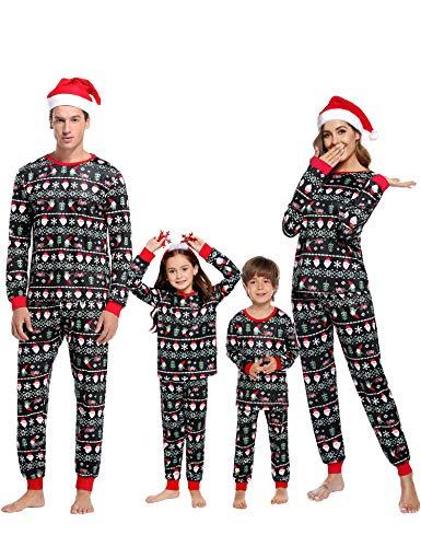 Aibrou Christmas Family Pajamas Matching Sets Cotton Christmas Family Holiday Pajama Sets Sleepwear Set