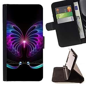 NEON SIGN BLACK BUTTERFLY TATTOO DARK/ Personalizada del estilo del dise???¡Ào de la PU Caso de encargo del cuero del tir????n del soporte d - Cao - For HTC Desire 820