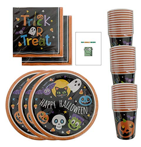 Kid Recipes For Halloween Party (Halloween Party Supplies Paper Plates Napkins Cups Bulk Disposable + Bonus Recipe for Kids Serves 36-108)