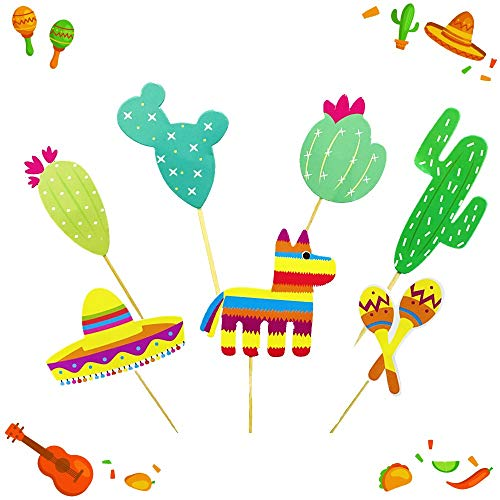 JeVenis (42 pcs) Fiesta Cupcake Toppers Mexican Fiesta Party Striped Decorative Cake Topper for Mexican Themed Cactus Donkey Taco Pepper Sombrero Mustache Party Decorations by JeVenis (Image #5)
