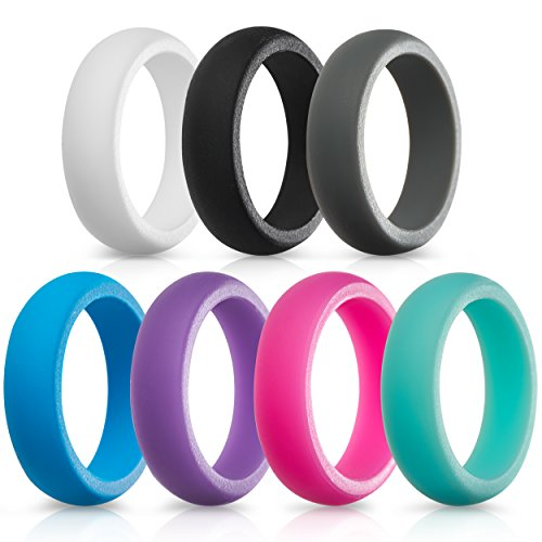 Silicone Wedding Rings for Women - 7 Pack (White Black Gray Blue Purple Pink Teal, 4.5-5 (15.7mm))