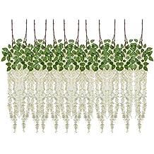 Budding Joy 4.9 Feet Artificial Fake Wisteria Vine Ratta Hanging Silk Flowers Wedding Home Party Decor,12 Pieces (White)