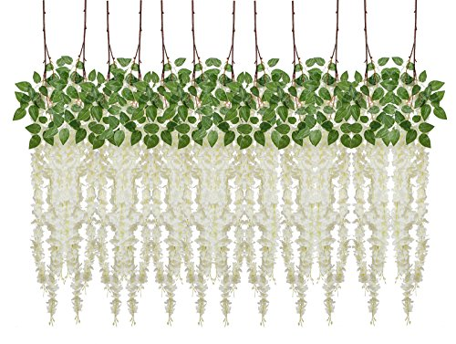 Budding Joy 4.9 Feet Artificial Fake Wisteria Vine Ratta Hanging Silk Flowers Wedding Home Party Decor,12 Pieces (White) (Mirror Faux Barn Door)