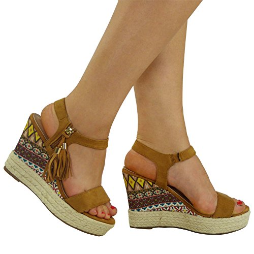 New Womens Ladies Tassel Ankle Zip Espadrilles High Wedge Shoes Sandals Size 3-8 Tan SCZH1JkNCt