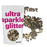 Hemway Gold Iridescent Mix Glitter Chunky Multi Purpose Dust Powder Arts & Crafts Wine Glass Decoration Weddings Flowers Cosmetic Face Eye Body Nails Skin Hair Festival 100g