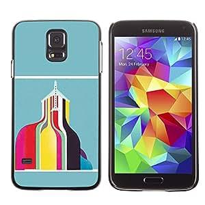 Shell-Star Arte & diseño plástico duro Fundas Cover Cubre Hard Case Cover para SAMSUNG Galaxy S5 V / i9600 / SM-G900F / SM-G900M / SM-G900A / SM-G900T / SM-G900W8 ( Abstract Building Teal Yellow Pink )