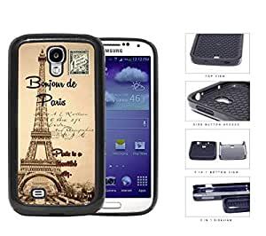 Paris France Bonjour Postcard 2-Piece Dual Layer High Impact Rubber Silicone Cell Phone Case Samsung Galaxy S4 SIV I9500