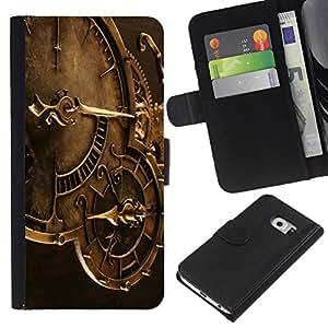Samsung Galaxy S6 EDGE SM-G925 , la tarjeta de Crédito Slots PU Funda de cuero Monedero caso cubierta de piel ( Clock Time Machine Mechanics Watch Technology)