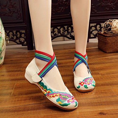 WXT Zapatos bordados, lenguado del tendón, estilo étnico, zapatos de tela femenina, moda, cómodo, casual dentro del aumento beige