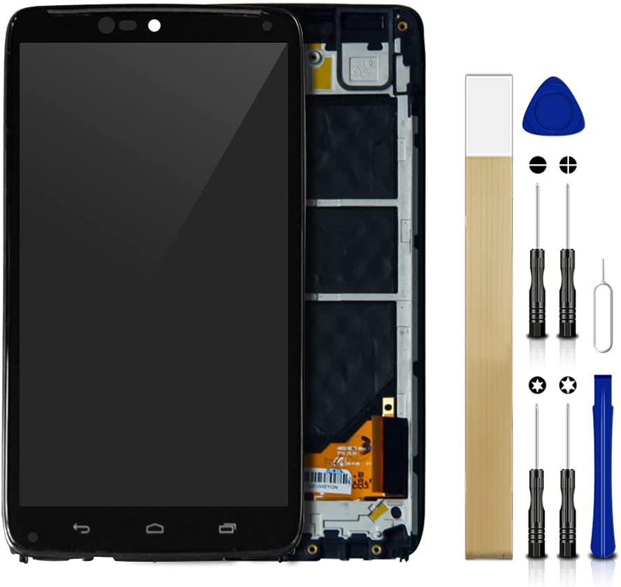 for Verizon Motorola Droid Turbo XT1254 LCD Screen Display Assembly Touch Screen Digitizer Panel Glass Replacement Tool(Black with Frame)