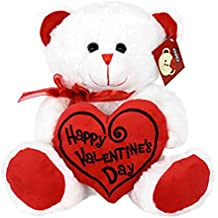"KINREX Sale Day Price Cut Valentines Day Teddy Bear - 11.81"" / 30 cm. - Gifts for Girlfriend, Boyfriend, Wife, Husband - Color White with Red Heart Pillow"
