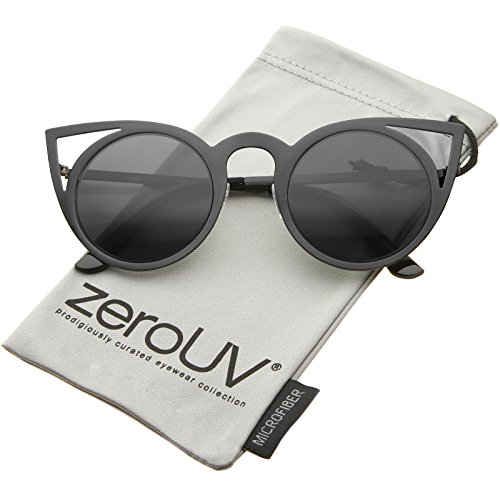 ZeroUV - Womens Fashion Round Metal Cut-Out Flash Mirror Lens Cat Eye Sunglasses (Black / Smoke)