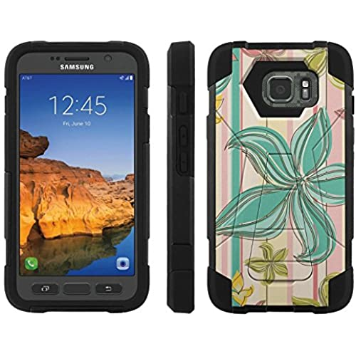 AT&T [Galaxy S7 Active] ShockProof Case [ArmorXtreme] [Black/Black] Hybrid Defender [Kickstand] - [Teal Flower] for Samsung Galaxy [S7 Active] Sales