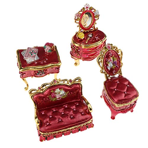 NATFUR 1/12 Mini Russian Metal Sofa Dresser Jewelry Case Model Dollhouse Kits Red ()