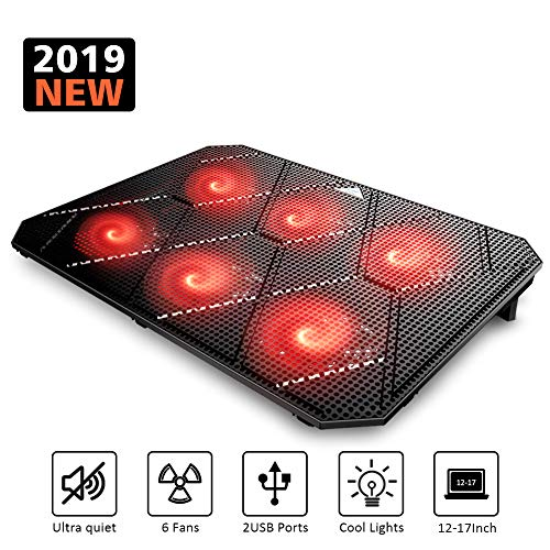 Pccooler Laptop Cooling Pad, Powerful Slim Quiet Laptop Cooler for Gaming Laptop - 6 Red LED Fans - Dual USB 2.0 Ports - Portable Height Adjustable Laptop Stand, Fits 12-17 Inches (Laptop Usb Cooling Pad)