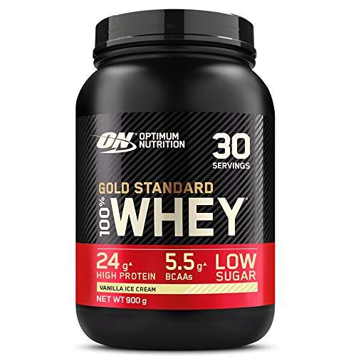 Optimum Nutrition Gold Standard 100% Whey Proteína en Polvo, Glutamina y Aminoácidos Naturales, BCAA, Helado de Vainilla, 30 Porciones, 900g, Embalaje Puede Variar a buen precio