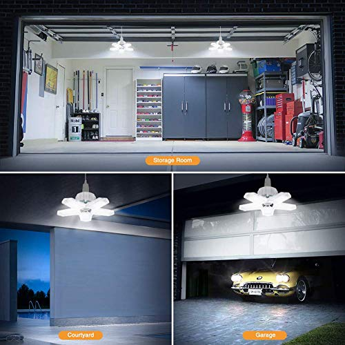 1 Pack LED Garage Light, ISKYDRAW 100W E26 Deformable LED Garage Ceiling Lights, 10000LM Garage Lighting with 5 Adjustable Panels,LED Shop Lights for Garage, Warehouse, Workshop, Basement, Barn