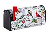 Evergreen Watercolor Winter Cardinal Nylon Magnetic Mailbox Cover for Standard Sized Mailboxes