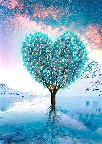 VONBOR Diamond Painting Love Tree Kit for Adults Full Drill Paint with Diamond Art DIY Tree Painting by means of Number Kits Nightmare Gem Art Wall Home Decor 12x16inch