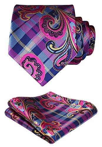(HISDERN Paisley Floral Wedding Tie Handkerchief Woven Classic Men's Necktie & Pocket Square Set Pink & Blue)