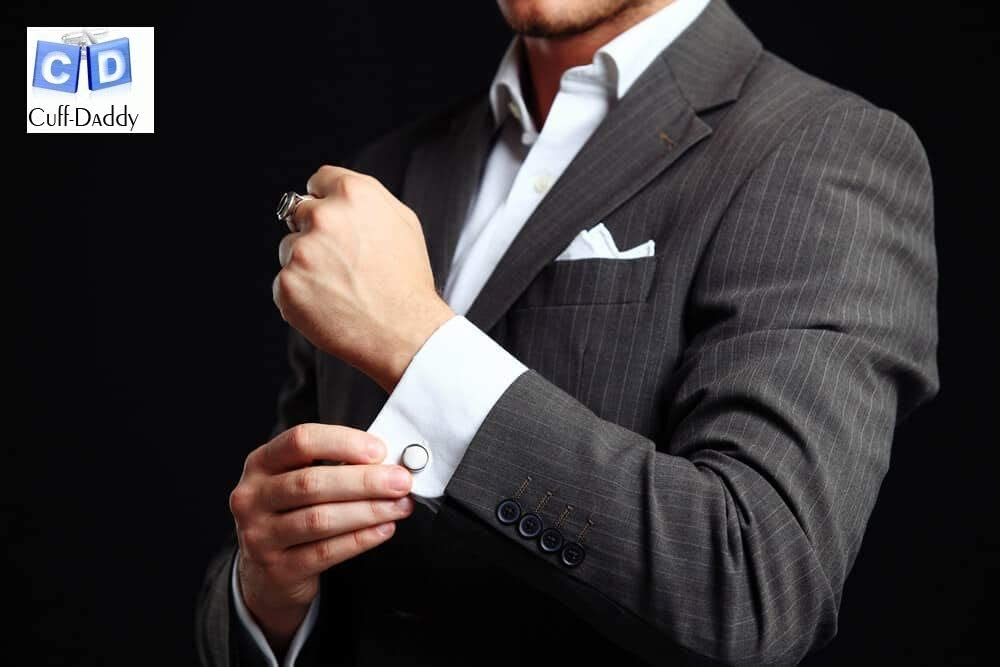 Round Collar Buttons with Silver Tone Edge Gray Moon Glow Tuxedo Shirt Studs