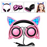 LIMSON Cat Ear Headphones Over Ear Wired Kids Earphones with Foldable LED Light Flashing Compatible Headset LX-L107 (Pink)