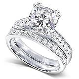 Cushion-cut Moissanite Bridal Set with Round-Brilliant Diamond 2 1/3 CTW 14k White Gold