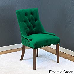 Monsoon Lemele Tufted Velvet Dining Chairs (Set of 2) Emerald Green