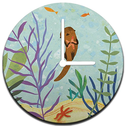 Mouse + Magpie Magical Sea Otters Wall Clock Decorative 12'', Quiet, Non-Ticking, Perfect for Kids or Toddler Room, Nursery, Playroom or Office, Great Gift (white) - Magical Adventure Room